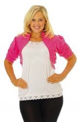 PRE ORDER: Cool Cotton Ruched Plus Size Bolero Shrug - Cerise
