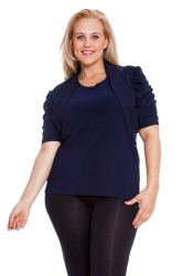 PRE ORDER: Cool Cotton Ruched Plus Size Bolero Shrug - Navy Blue