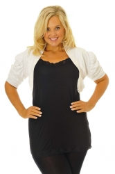 PRE ORDER: Cool Cotton Ruched Plus Size Bolero Shrug - White