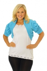 PRE ORDER: Cool Cotton Ruched Plus Size Bolero Shrug - Turquoise