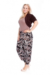 PRE ORDER: Cool Cotton Ruched Plus Size Bolero Shrug - Brown