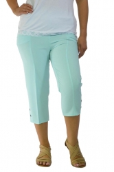 PRE ORDER: Easy Wearing Cropped Tab Detail Capri Pants - Aqua