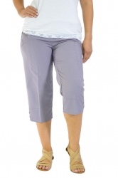 PRE ORDER: Easy Wearing Cropped Tab Detail Capri Pants - Lilac