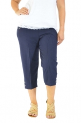 PRE ORDER: Easy Wearing Cropped Tab Detail Capri Pants - Navy