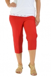 PRE ORDER: Easy Wearing Cropped Tab Detail Capri Pants - Red