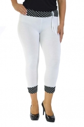 PRE ORDER: Cute Cropped Polka Dot Leggings - White