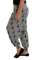 PRE ORDER: Cool Cross Print Harem Pants - Grey & Black