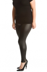 PRE ORDER: Chic Black Wet Look Zip Plus Size Leggings