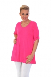 PRE ORDER: Essential Tab Sleeve Scoop Neck Top - Cerise