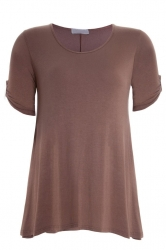 PRE ORDER: Essential Tab Sleeve Scoop Neck Top - Mocha