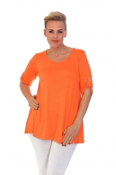 PRE ORDER: Essential Tab Sleeve Scoop Neck Top - Orange
