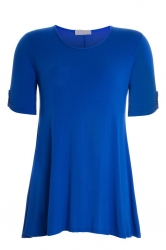 PRE ORDER: Essential Tab Sleeve Scoop Neck Top - Royal Blue