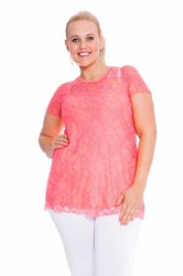 PRE ORDER: Stylish Sweetheart Lined Lace Top - Coral