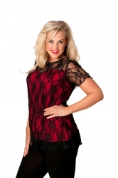 PRE ORDER: Stylish Sweetheart Lined Lace Top - Black & Red