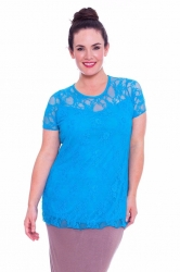 PRE ORDER: Stylish Sweetheart Lined Lace Top - Turquoise