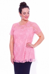 PRE ORDER: Stylish Sweetheart Lined Lace Top - Peach