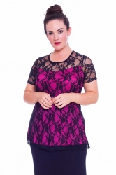 PRE ORDER: Stylish Sweetheart Lined Lace Top - Black & Cerise