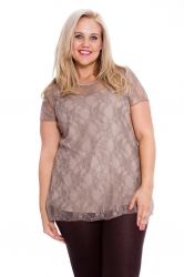 PRE ORDER: Stylish Sweetheart Lined Lace Top - Mocha
