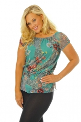 PRE ORDER: Flattering On-Off Shoulder Chiffon Gypsy Top - Green