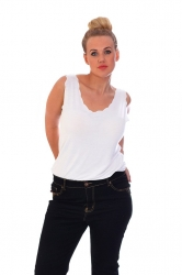 PRE ORDER: Simple But Stylish Scalloped Edge Cami - White