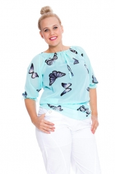 PRE ORDER: Stylish On-Off Shoulder Butterfly Chiffon Top - Aqua