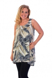 PRE ORDER: Lovely Loose Fit Sequin/Feather Tunic Top - Stone