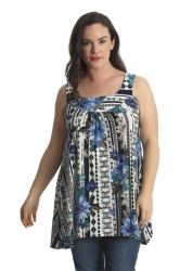 PRE ORDER: Lovely Loose Celtic Floral Print Tunic Top - Blue