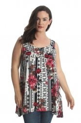 PRE ORDER: Lovely Loose Celtic Floral Print Tunic Top - Wine