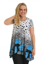 PRE ORDER: Lovely Floral Polka Dot Tunic Top - Blue