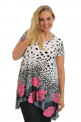 PRE ORDER: Lovely Floral Polka Dot Tunic Top - Pink