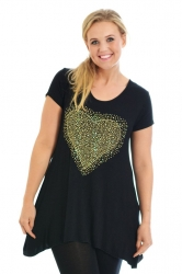 PRE ORDER: Sweet Gold Studded Heart Tunic Top - Black
