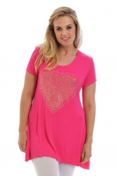 PRE ORDER: Sweet Gold Studded Heart Tunic Top - Cerise