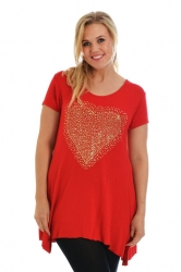 PRE ORDER: Sweet Gold Studded Heart Tunic Top - Red