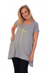 PRE ORDER: Stylish Gold Stud Cross Tunic Top - Grey