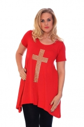 PRE ORDER: Stylish Gold Stud Cross Tunic Top - Red