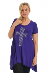 PRE ORDER: Stylish Metallic Stud Cross Tunic Top - Purple