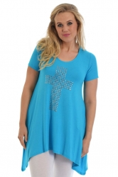 PRE ORDER: Stylish Metallic Stud Cross Tunic Top - Turquoise