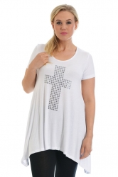 PRE ORDER: Stylish Metallic Stud Cross Tunic Top - White