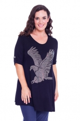 PRE ORDER: Sparkly Eagle Stud Tab Sleeve Top - Black