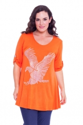 PRE ORDER: Sparkly Eagle Stud Tab Sleeve Top - Orange