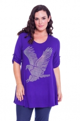 PRE ORDER: Sparkly Eagle Stud Tab Sleeve Top - Purple