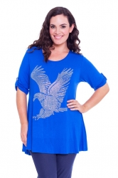 PRE ORDER: Sparkly Eagle Stud Tab Sleeve Top - Royal Blue