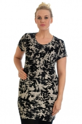 PRE ORDER: Bold Bodycon Tunic Top - Black & Grey Abstract