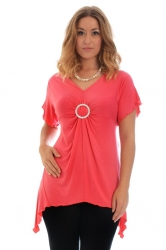 PRE ORDER: Shimmering Diamante Buckle Sharkbite Top - Coral