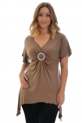PRE ORDER: Shimmering Diamante Buckle Sharkbite Top - Mocha