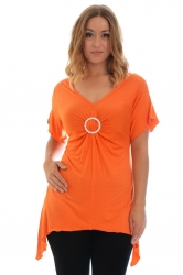 PRE ORDER: Shimmering Diamante Buckle Sharkbite Top - Orange