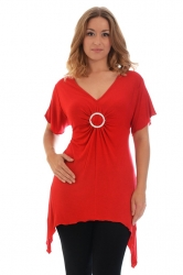 PRE ORDER: Shimmering Diamante Buckle Sharkbite Top - Red
