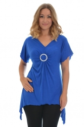PRE ORDER: Shimmering Diamante Buckle Sharkbite Top - Royal Blue