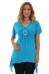 PRE ORDER: Shimmering Diamante Buckle Sharkbite Top - Turquoise