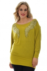 PRE ORDER: Gorgeous Off Shoulder Sparkly Angel Wing Top - Olive